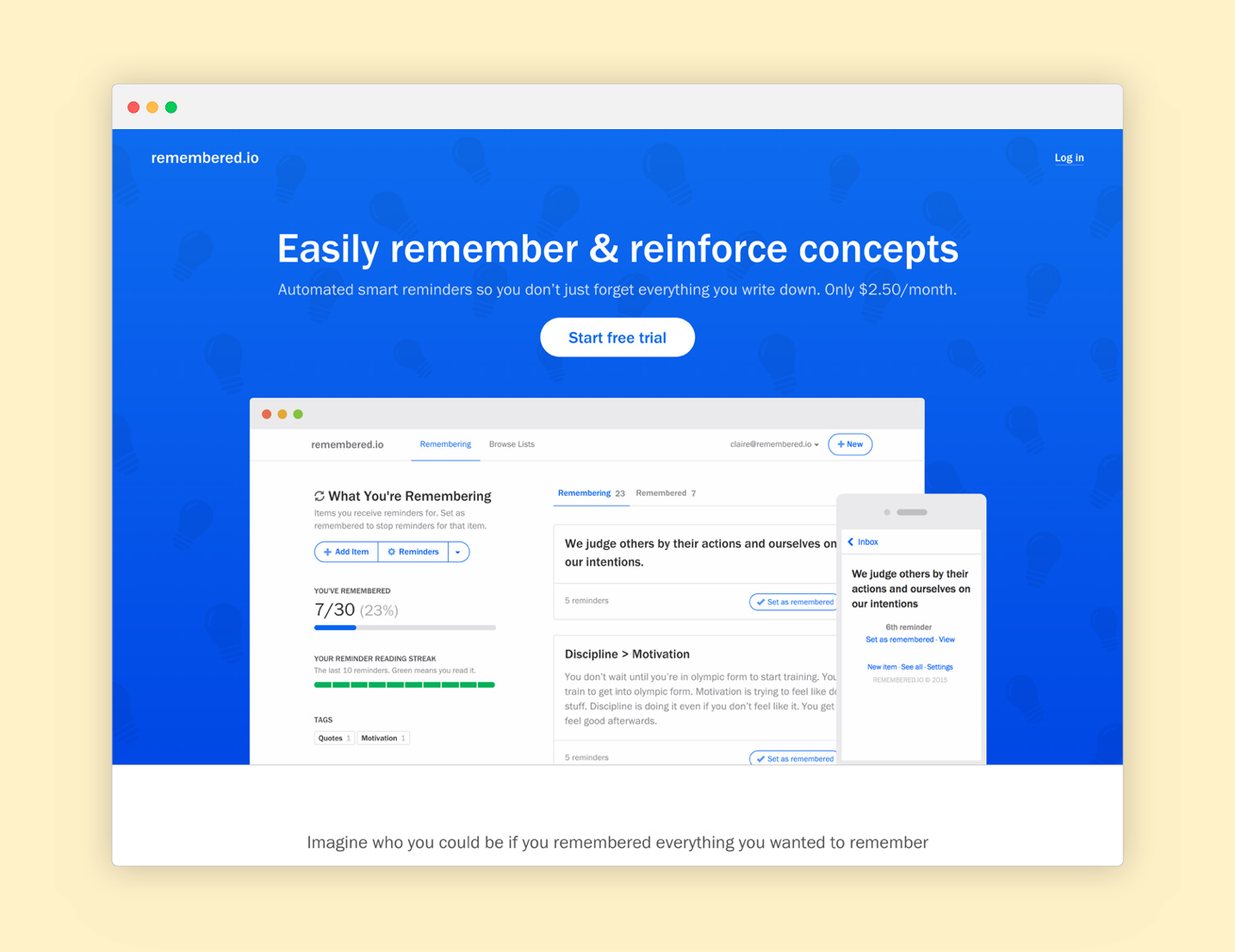 Remembered.io Landing Page